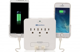 Wall Mount Surge Protector with USB Plugs & Phone Holder